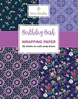 Vera Bradley Birthday Bash Wrapping Paper: 20 Sheets to Craft, Wrap & Love (Design Originals) 18-inch by 24-inch Patterns Perfect for Birthday Gifts, plus 20 Ready-to-Color Gift Cards & Wrapping Tips