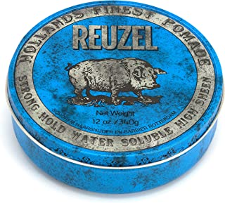 Reuzel - Blue Strong Hold Water Soluble Pomade For Men - High Shine & Gloss - Maintains Pliability - Non-Hardening - Non-Flaking - Calming Vanilla Wood Scent - Easy To Wash Out - 12 oz, 340 g