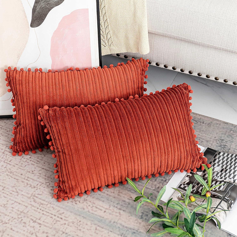 UGASA Decor Pillow Covers Velvet Cushion Case with Pom-poms for Lumbar, 2 Pieces, 12x20-inch (30x50cm), Burnt Brick