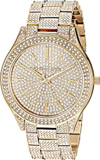 Women's Slim Runway Quartz Watch with Stainless-Steel-Plated Strap, Gold, 19.9 (Model: MK4365)