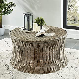 Bali I Kubu Rattan Round Coffee Table Brown Casual Modern Contemporary Transitional Wood Natural Finish