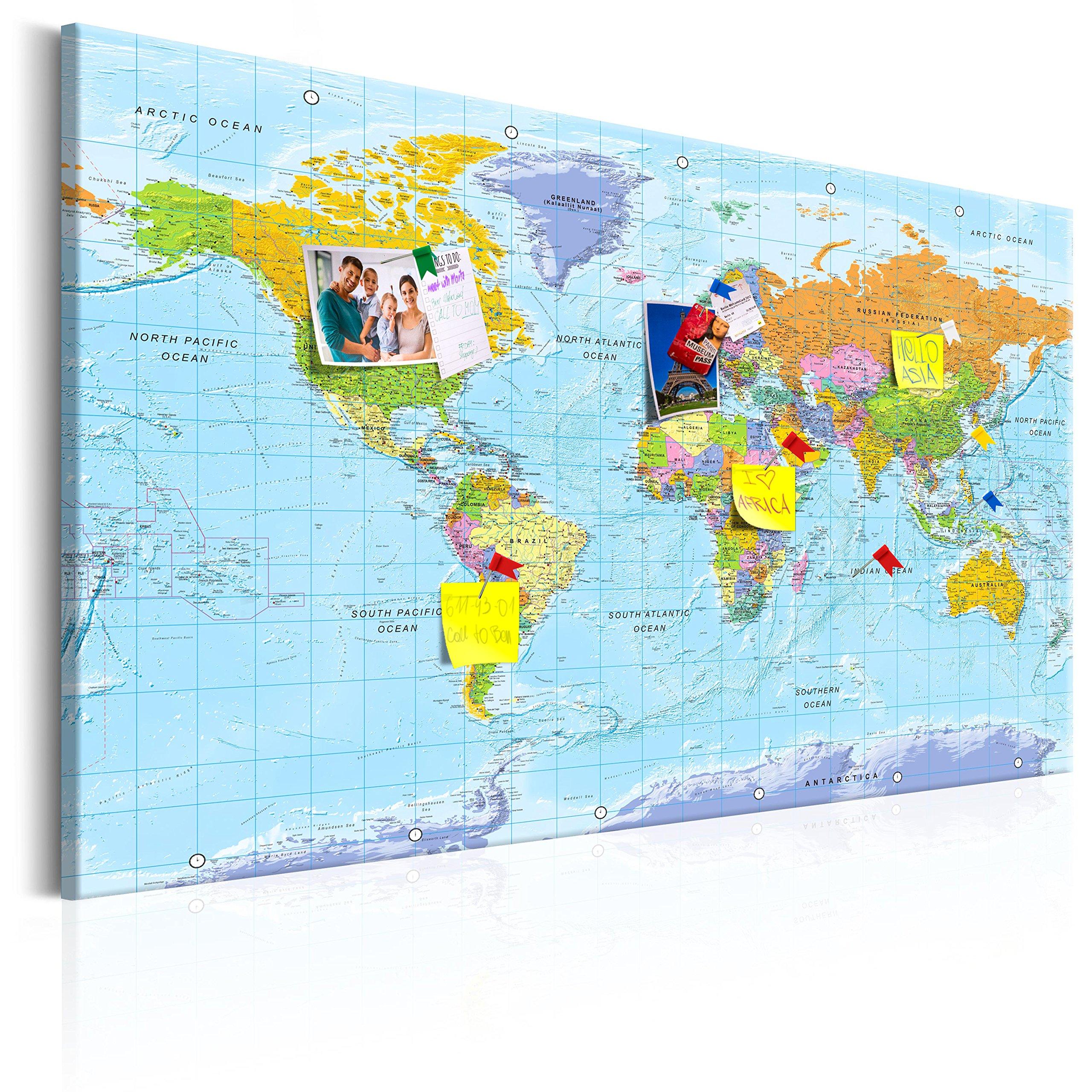 murando - Mapamundi con Tablero para Clavar chinchetas 120x80 cm - Cuadro en Lienzo sintético - 1 Parte - Panel de Fibra - Mapa del Mundo Continente - k-A-0094-v-a: Amazon.es: Hogar