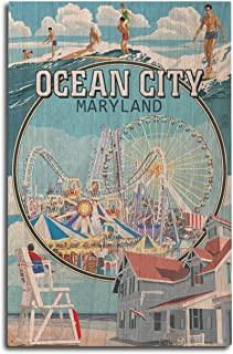 Lantern Press Ocean City, Maryland - Montage Scenes (10x15 Wood Wall Sign, Wall Decor Ready to Hang)
