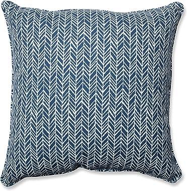 """Pillow Perfect Outdoor/Indoor Herringbone Ink Floor Pillow, 25"""" x 25"""", Blue"""