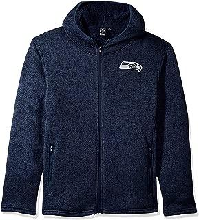 Men's NFL Full Zip Fleece Hoodie Letterman Varsity Jacket JZM4946F, Seattle Seahawks, Navy, Medium