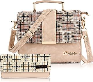FIESTO FASHION PU Leather Latest Trendy Fashion Ladies Cream Color Handbag With Clutch Bag & Combo 2pcs Purse Set