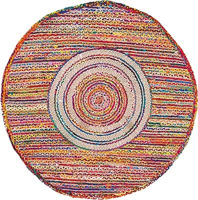 Safavieh Braided Collection BRD263U Handmade Boho Reversible Cotton & Jute Area Rug, 4' x 4' Round, Pink / Red