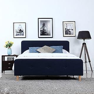 DIVANO ROMA FURNITURE Mid Century Modern Linen Fabric Low Profile Bed Frame (Full, Blue)