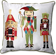 Pillow Perfect Holiday Embroidered Nutcrackers Throw Pillow, 16.5-Inch, Red/Green