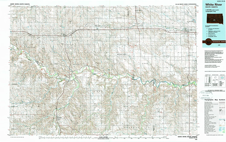White River SD topo map, 1 100000 Scale, 30 X 60 Minute, Historical