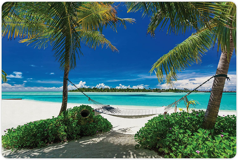Lunarable Overseas parallel import regular item Beach Pet Mat for Food Tre and Palm Water shipfree Hammock