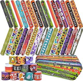 72 Halloween Slap Bracelets Craft Bulk with Spider, Pumpkins, Animal Print for Homeschooling Kids Trick or Treat Party Fav...