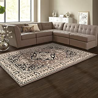 Superior Elegant Glendale Collection Area Rug, 8mm Pile Height with Jute Backing, Traditional Oriental Rug Design, Anti-Static, Water-Repellent Rugs - Brown, 4' x 6' Rug