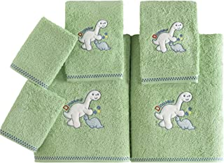 SALBAKOS Bath Towel Set for Kids - 6 Piece Set Includes Bath Towels and Washcloths - Dinosaur Theme for Boys and Girls