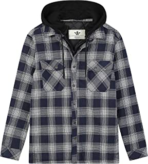Men's Thicken Plaid Flannel Quilted Shirts Jacket with Removable Hood