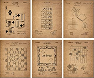 Board Games Patent Wall Art Prints - Set of 6 Vintage Family Board Games Photos