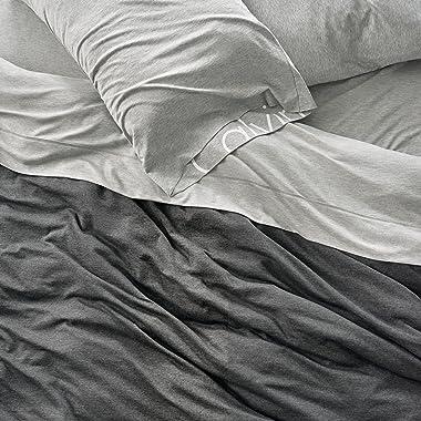 Calvin Klein Home Modern Cotton Body Duvet Cover, Queen, Charcoal