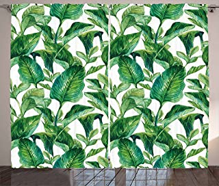 "Ambesonne Leaf Curtains, Romantic Holiday Island Hawaiian Banana Trees Watercolored Image, Living Room Bedroom Window Drapes 2 Panel Set, 108"" X 84"", Forest Green"