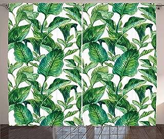 Ambesonne Leaf Curtains, Romantic Holiday Island Hawaiian Banana Trees Watercolored Image, Living Room Bedroom Window Drapes 2 Panel Set, 108