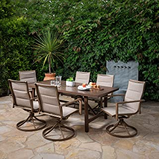 Hanover FAIRDN7PCSW6-TAN Fairhope 7-Piece Dining Set with 6 Padded Contoured-Sling Swivel Rockers Outdoor Furniture, Tan
