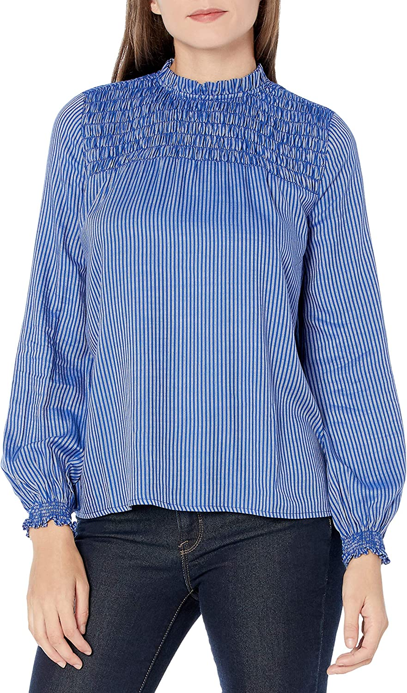 Amazon Brand - Goodthreads Women's Relaxed Fit Fluid Yarn-Dye Twill Long Sleeve Smocked Yoke Crewneck Woven Shirt