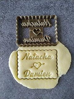 Emporte-pièce coeur percé - Petit beurre - Personnalisable avec 2 prénoms | Conçu et fabriqué en France