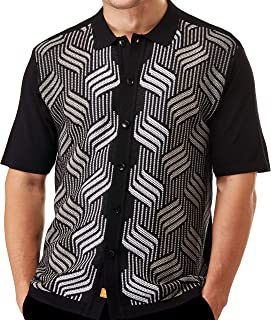 Edition-S Men's Short Sleeve Knit Shirt- California Rockabilly Style: Mosaic Honeycomb Jacquard
