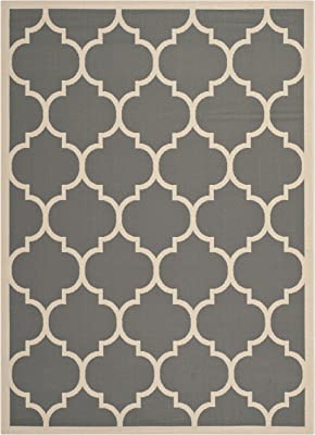 """Safavieh Courtyard Collection CY6914-246 Anthracite and Beige Indoor/ Outdoor Area Rug (5'3"""" x 7'7"""")"""