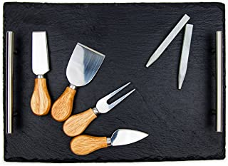 Slate Cheese Board Set - Deluxe Cheese Serving Tray with Stainless Steel Handles - Includes 4 Cheese Knives and 2 Soapstone Chalks - Great for Home & Restaurant Cheese Tapas & Appetizers Serving