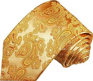 Paul Malone Necktie Set 100% Silk Tie, Handkerchief and Cufflinks, Gold Paisleys