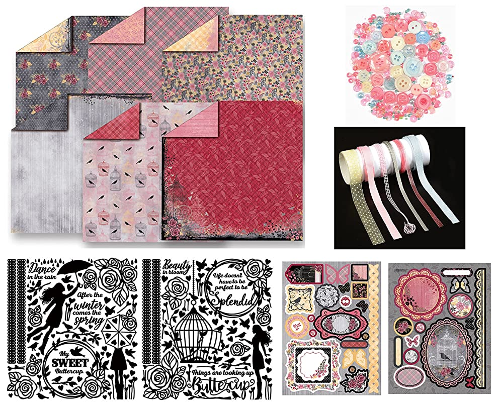 Paper Crafting Collection by Hot Off The Press   Coordinated Collection Including 12 Double-Sided Papers, Dazzles Stickers, Die-Cuts, Ribbons, and Embellishments
