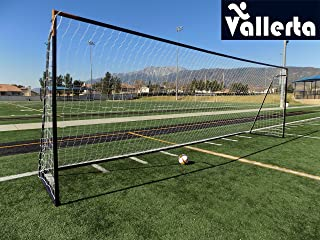 Vallerta 24 x 8 Ft.Regulation Size Soccer Goal w/Weatherproof HDPE Net. 50MM Diameter Industrial Grade Powder Coated Galvanized Steel. Portable 8x24 Foot Training Aid. ONE Year Warranty!