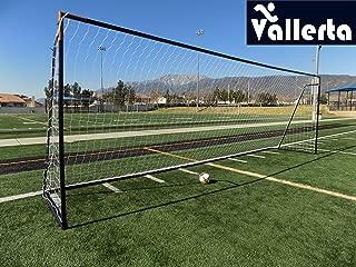 Vallerta 24 x 8 Ft.Regulation Size Soccer Goal w/Weatherproof HDPE Net. 50MM Diameter Industrial Grade Powder Coated Galvanized Steel. Portable 8x24 Foot Training Aid. ONE Year Warranty!