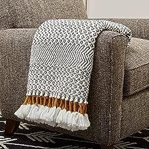 Rivet Modern Hand-Woven Stripe Fringe Throw Blanket, Soft and Stylish, 50