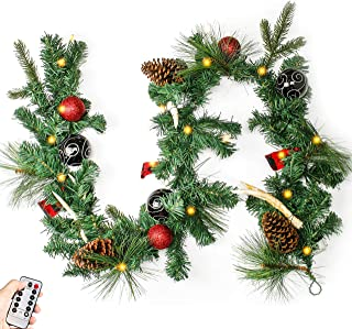 Costyleen 6 Feet Christmas Garland Decorations Outdoor Indoor Artificial Pine Wreath Xmas Decors with Remote Controlled 30 LED Lights, Ball Ornaments Pine Cones Cherries