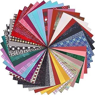 "ZAIONE 20pcs 8"" X 12"" Random Colors Scarp Faux Leather Sheets Bundle Mixed Glitter Pattern Printed Grain Texture Embossed ..."