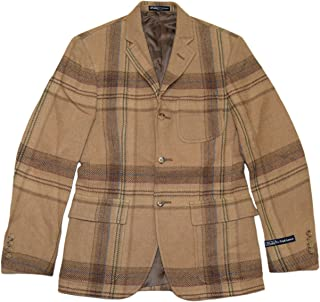 e92361e638f5 Ralph Lauren Polo Mens Wool Sport Coat Blazer Plaid Beige Brown Italy 44R