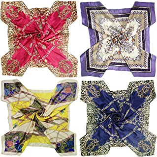 4 Pc Set Large 35 × 35 inches Satin Square Scarves Neck Hair Head Scarf Bundle
