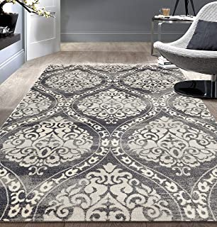 Transitional Floral Damask Area Rug 5' x 7' Gray