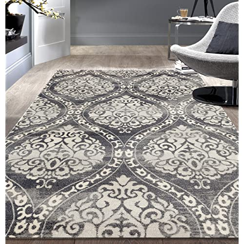 Rugshop 702Gray5 'x 7' Transitional Floral Damask Area Rug, 5' x 7', Gray