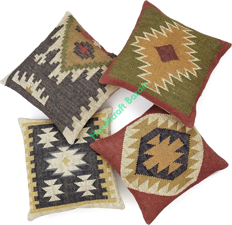 Handicraft Bazarr Wool Jute Albuquerque Mall Throw Case Vintage Kilim Challenge the lowest price Cush Pillow