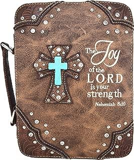 Western Style Embroidery Scripture Cross Country Women Rhinestone Bible Cover Book Case Crossbody Handbag