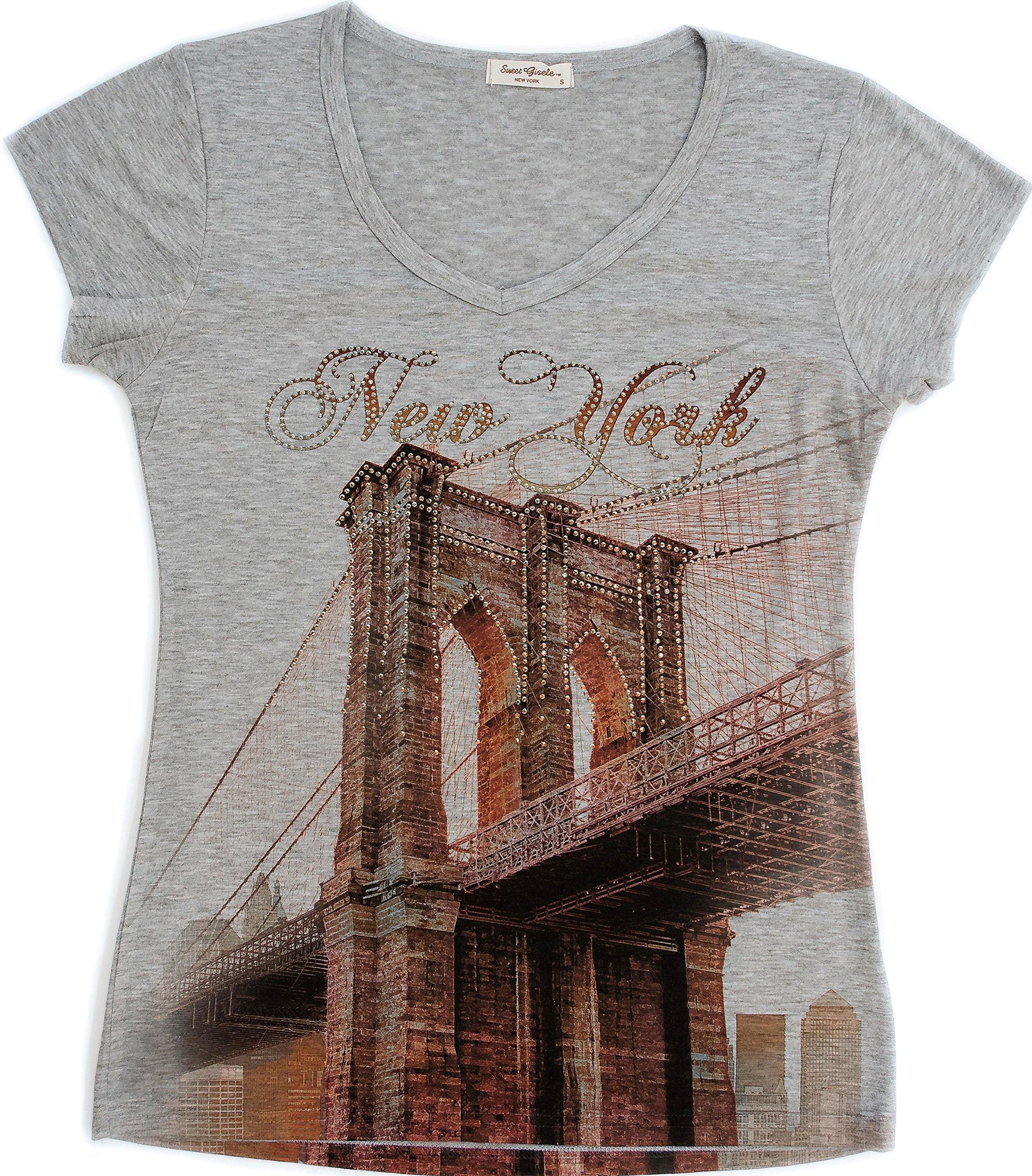 スウィートジゼルニューヨーク市ブルックリンブリッジTロックラインストーンレディース
