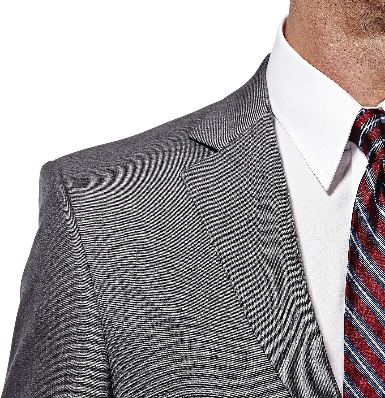 Haggar Men's J.m Premium Performance Stretch Stria 2-Button Suit Separate Coat, Dark Heather Grey, 40R with Plain Front Suit Separate Pant, Dark Heather Grey, 40Wx32L