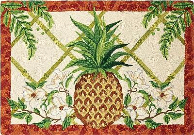 Peking Handicraft 30SER529C40 Fern Breeze Pineapple Hook Rug, 40-inch Length, Wool
