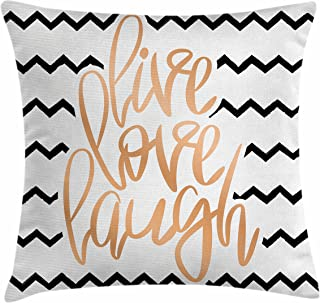 Ambesonne Live Laugh Love Throw Pillow Cushion Cover, Motivational Calligraphic Artwork with Zigzags Chevron Stripes, Decorative Square Accent Pillow Case, 18