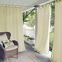 "Elrene Home Fashions 26865643152 Indoor/Outdoor Solid Tab Top Single Panel Window Curtain Drape, 52"" x 108"", Ivory, 52""x108"" (1"