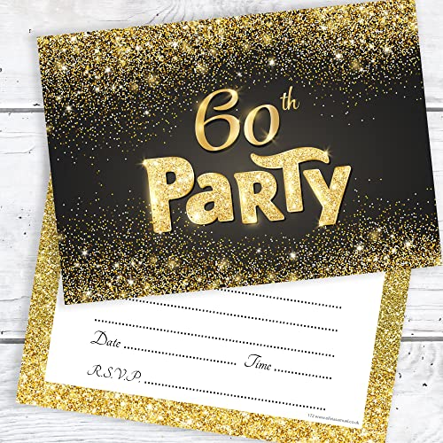Olivia Samuel Black And Gold Effect 60th Birthday Party Invitations