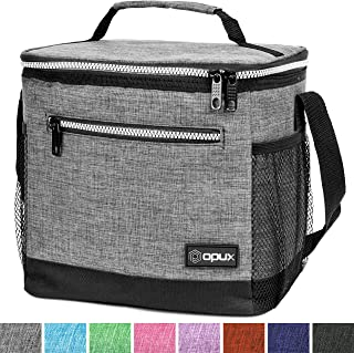 OPUX Insulated Large Lunch Bag, Men Women | Meal Prep Lunch Box for Adult, Kids | Soft Leakproof Lunch Pail Cooler Bag with Shoulder Strap for Work, School, Beach | Fits 18 Cans (Heather Grey)