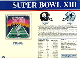 Super Bowl XIII Official Patch Pittsburgh Steelers vs Dallas Cowboys at Orange Bowl